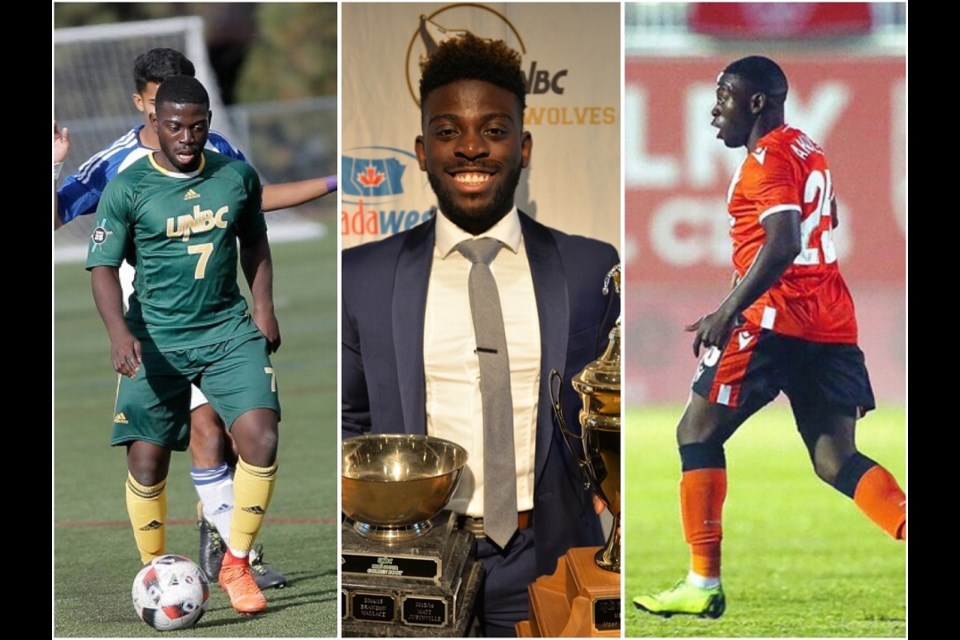 Tofa Fakunle's UNBC career propelled him to be one of the best the Prince George school had ever seen, including a debut with Cavalry FC in the Canadian Premier League (right).