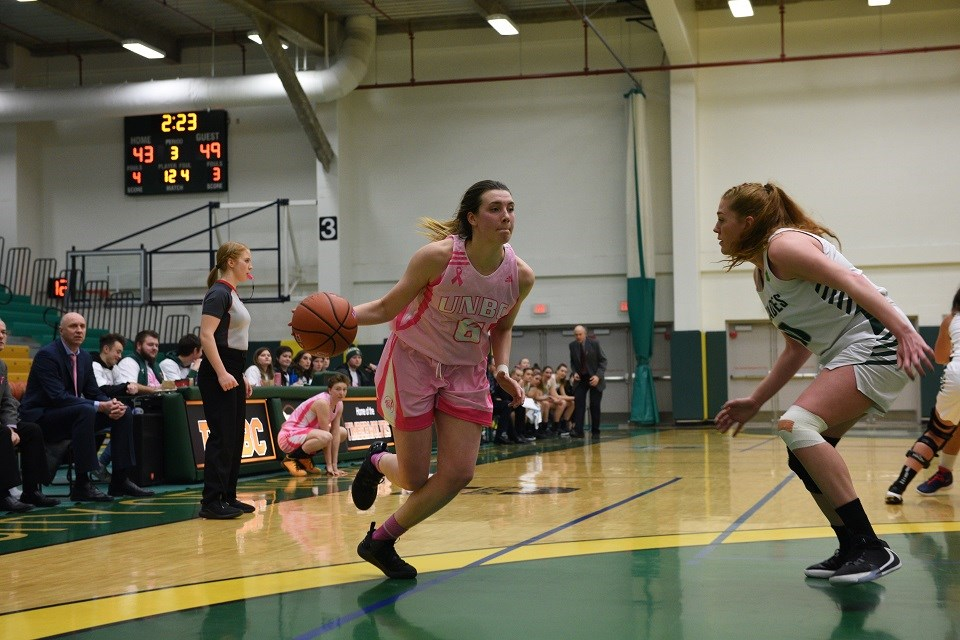 Madison Landry of the UNBC women's basketball team during the 2020 Shoot for the Cure game.