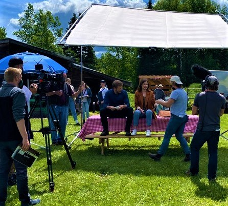 A film crew surrounds Megan Heffern and Jon Cor, the lead actors in The Way To The Heart, during filming a couple weeks ago at a set on Cranbrook Hill.