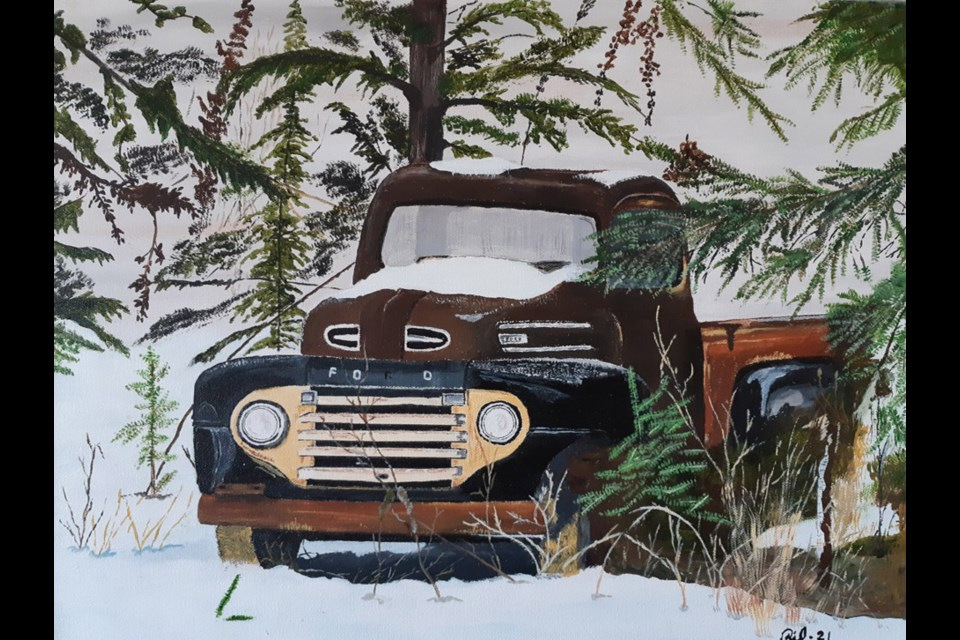 Local artist Rick Mintz has created his third calendar called Past Glory as a fundraiser for BC Children's Hospital. This '48 Ford is Mintz's favourite piece in the calendar.