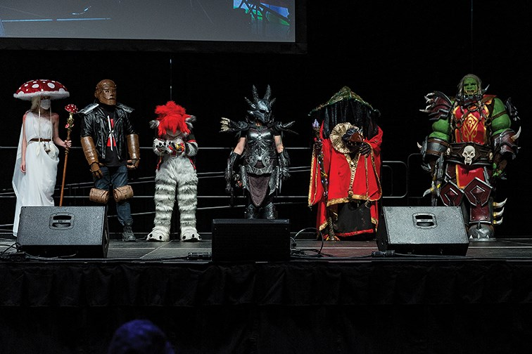 The winning cosplayers take to the stage at CN Centre on Saturday evening in Northern FanCon's Cosplay Contest. There were winners and runner-ups in Novice, Journeyman, and Masters divisions.