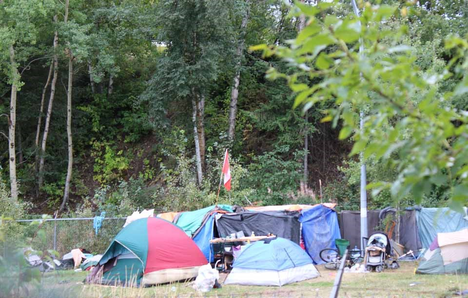 The tent city known as Moccasin Flats on Lower Patricia Boulevard.