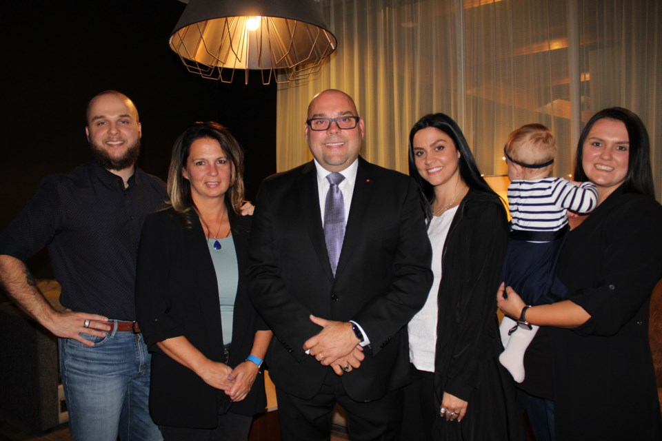 Todd Doherty with his family on election night at the Courtyard Marriot.
