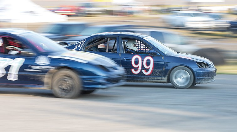 Racers make their way around the oval at PGARA Speedway Park on Saturday evening during a heat race prior to the Wescar main event.