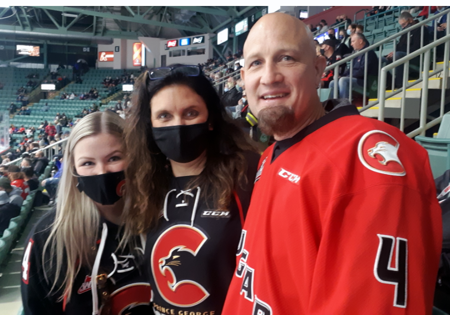 Prince George Cougars defenceman Ethan Samson's return from the Philadelphia Flyers last week came just in time for 21 family members and friends who made the trip up from Delta to watch him play the Kamloops Blazers in Saturday's season-opening game at CN Centre. From left are Samson's sister Jenna, mom Terre and dad Shawn.