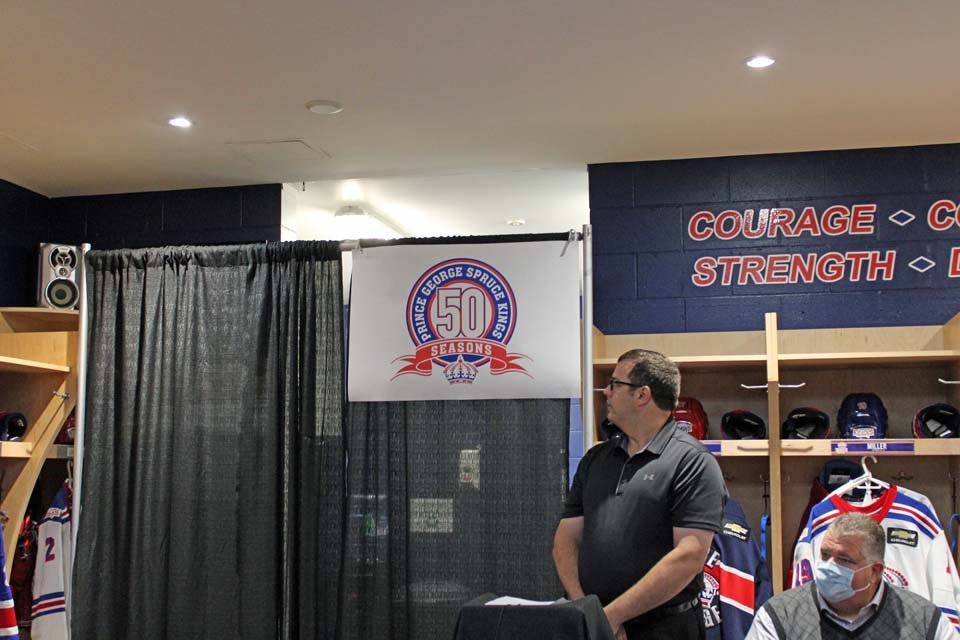 The Prince George Spruce Kings unveil the 50th-anniversary logo.