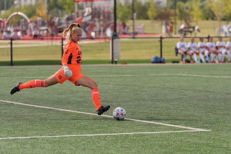 16 UNBC Twolves goalie Brooke Molby Sept. 11 2021 in Vic