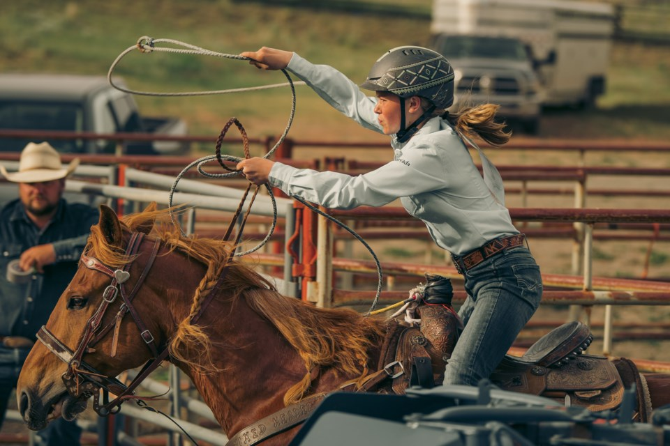Twelve-year-old Prince George cowgirl Nevada Jones takes her horse Gordon for a ride in the arena for the breakaway event at the B.C. High School Rodeo Association junior finals this past weekend in Merritt. Jones went on to capture the overall provincial championship.
