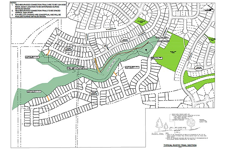 The map, provided by the City of Prince George, shows a proposed site plan for a subdivision planned in the St. Lawrence Heights area.