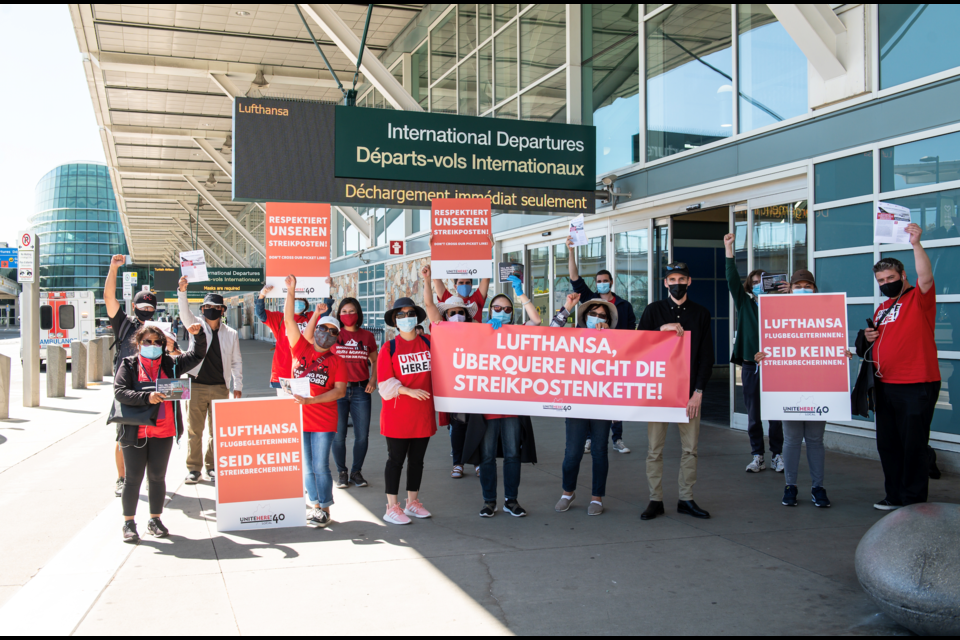 Hilton Metrotown's locked-out workers leafleted German airline crews as they came out of YVR, en route to their hotel in Burnaby