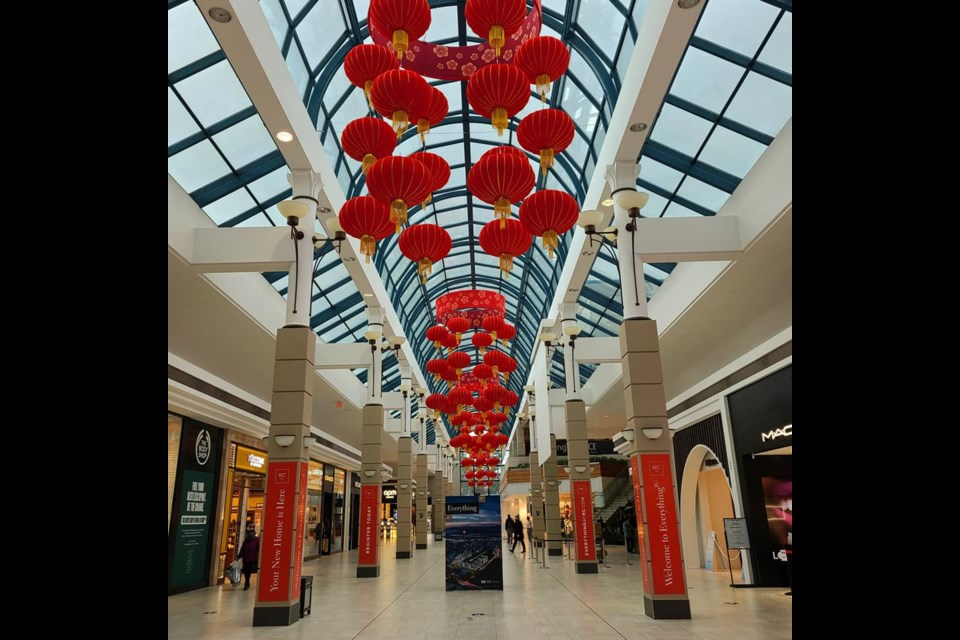 Chinese New Year decorations at Cadillac Fairview at Richmond Centre.