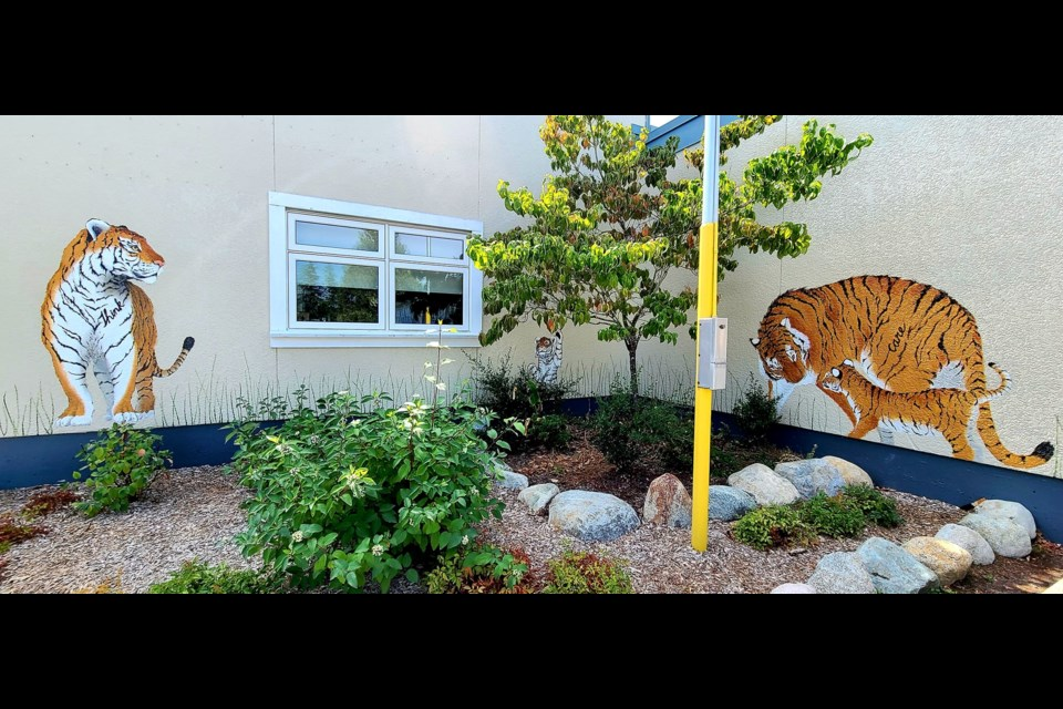 """Artist: Fiona Tang, """"Think-Learn-Care"""" - the school's motto Location: Thompson Elementary School, 6211 Forsyth Crescent"""
