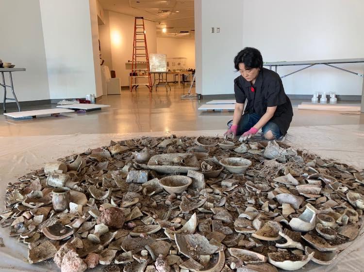 Kintsugi artist Naoko Fukumaru at the Richmond Art Gallery
