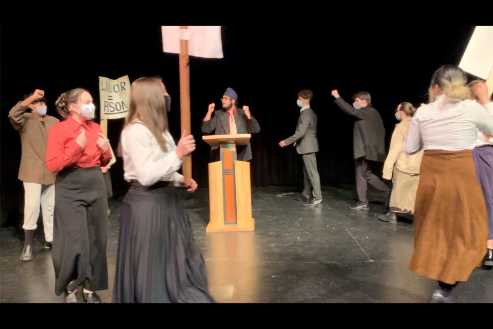 Temperance rally with Narin Malhotra (centre) as A.D. Blood during the filming with Steveston-London's virtual play.