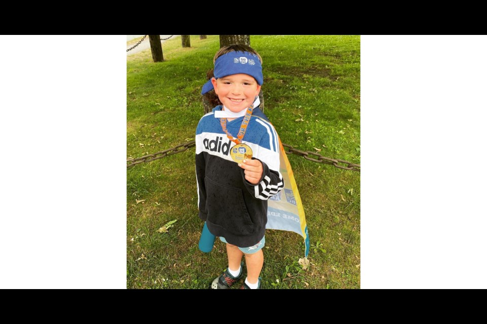 Lincoln Mihic, who just turned six, ran two kilometres and raised more than $2,000 for BC Children's Hospital