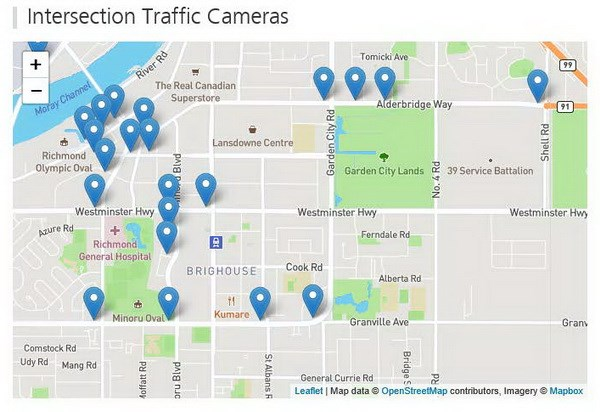 City intersection traffic cameras
