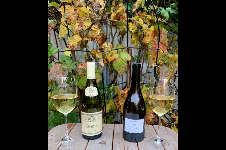 Louis Jadot 2018 Chablis and Thomas Pico 2015 Pattes Loup Premier Cru Chablis offer a contrast in different levels of Chablis. Photo: Eric Hanson