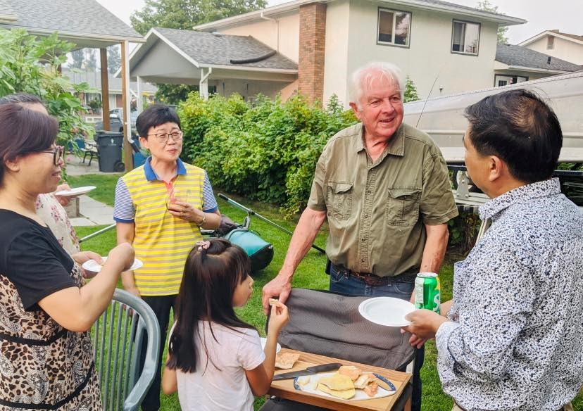 Don Bassermann, who served on Prince George city council for 18 years, invited this group to enjoy dinner at his home.