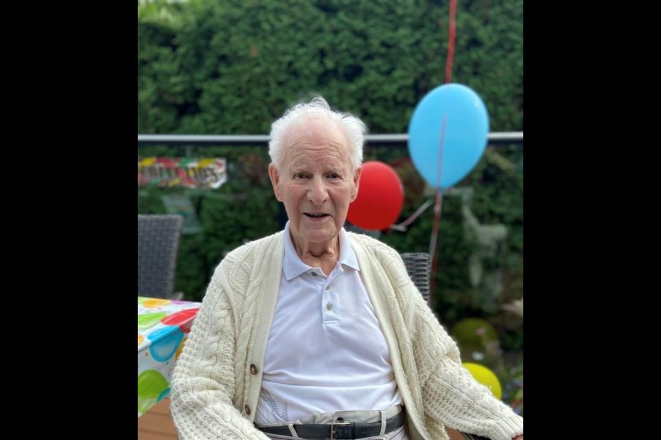 Richmond resident Doug Milton on his 100th birthday.