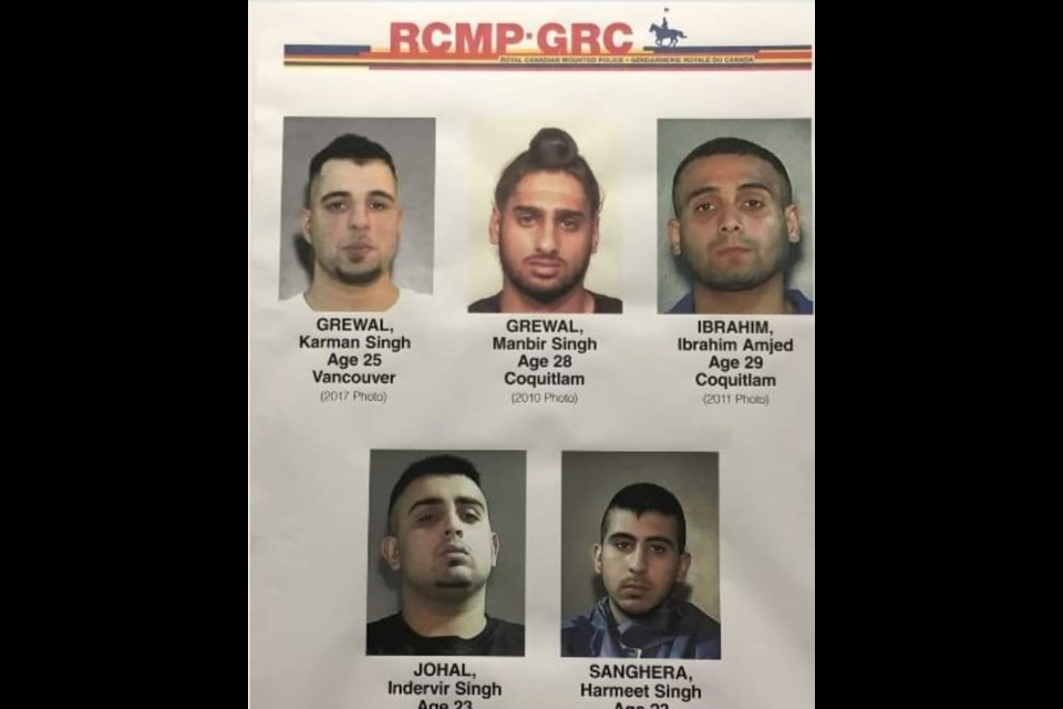 Sunday's Vancouver Airport shooting victim is understood to be Karman Grewal (top left), seen here in an RCMP mugshot from around three years ago.