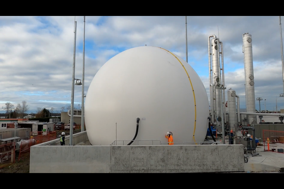 Surplus renewable natural gas is stored in the new Lulu Island Biogas Facility — enough to heat 600 homes and reduce greenhouse gas emissions by 2,500 tonnes