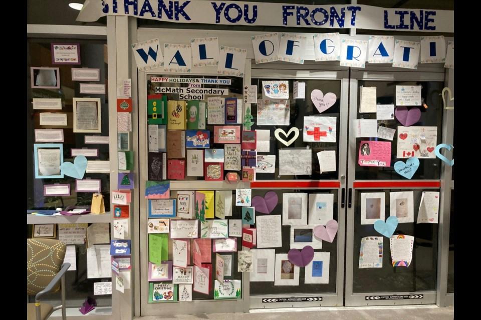 Richmond Hopes For Hospitals' cards on display on Richmond Hospital's gratitude wall.