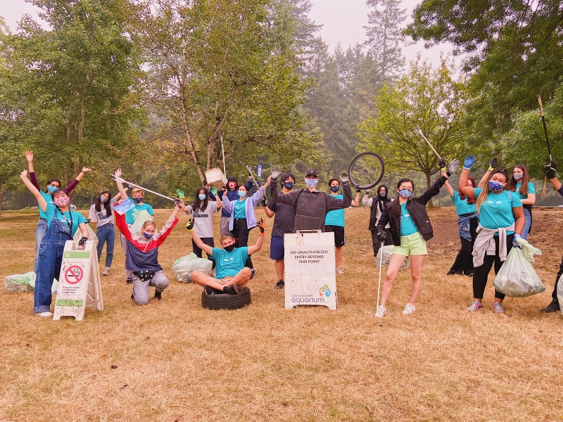 Jeannie Huang (second from right) is one of 15 Metro Vancouver teens who have launched an initiative to help clean up the region's shorelines and support local restaurants.