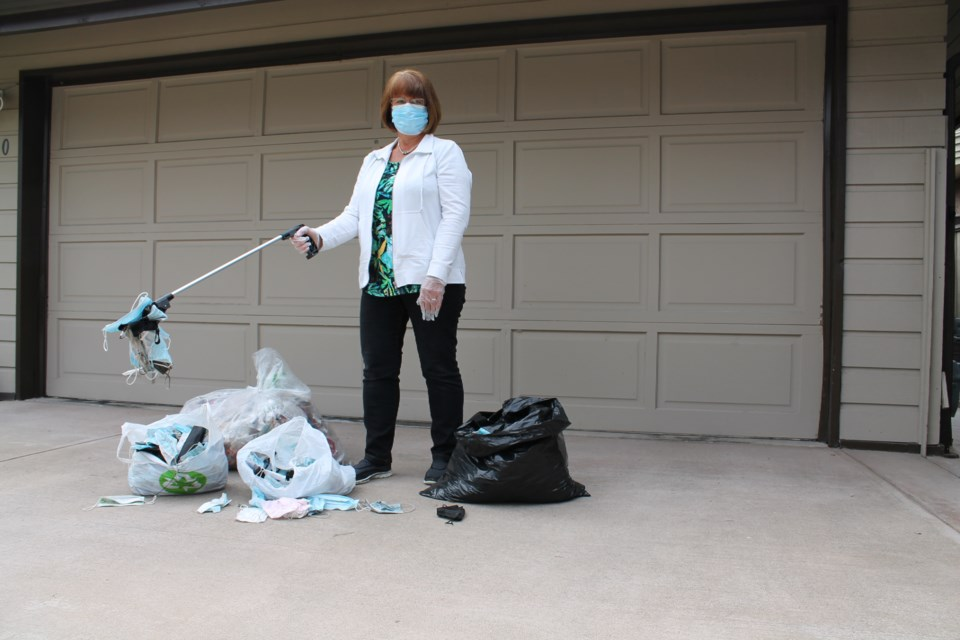 Richmond resident Donna Jones collected more than 600 masks and multiple shopping bags of garbage since mid-March on her daily walks.