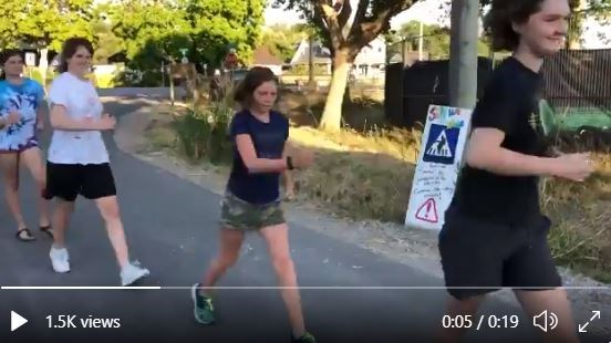 A group of kids and adults took up Evan Dunfee's Kraft KD challenge to do a silly walk in support of the 50K racewalker's Olympic Games tilt next week