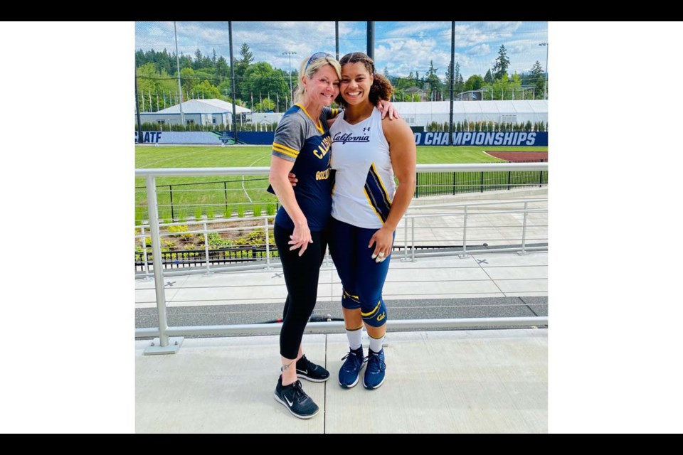 Star Richmond-raised athlete Camryn Rogers with her mom Shari at the recent NCAA championships in the U.S.