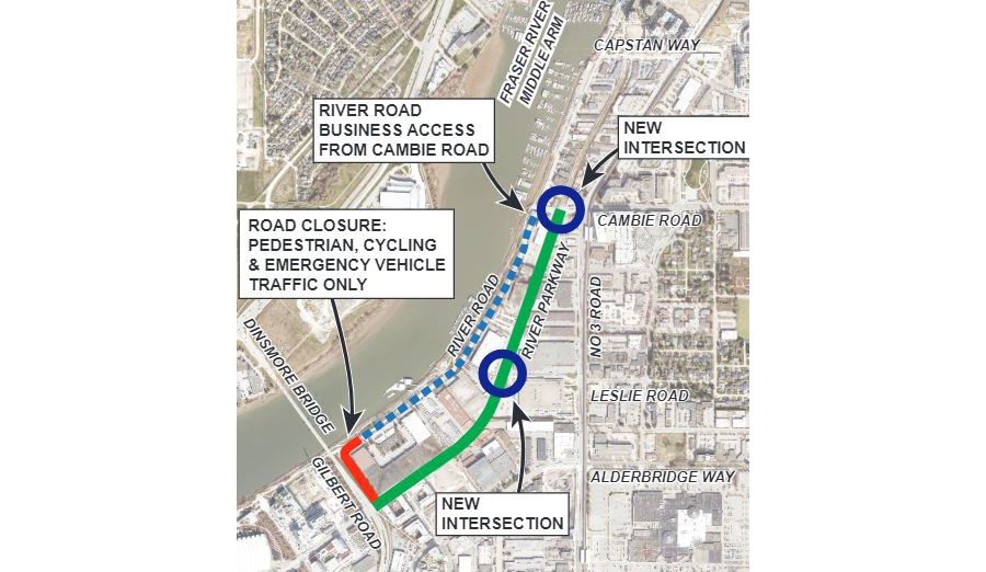 River Parkway, in green, will officially open to commuters on Saturday. This map highlights some of the changes commuters will see in the area.