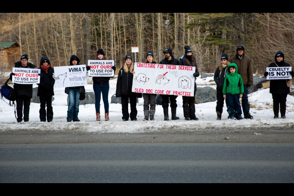Direct Action Everywhere (DXE) Alberta protesters hold signs along Highway 1A on Saturday (Nov. 16). EVAN BUHLER RMO PHOTO⁠