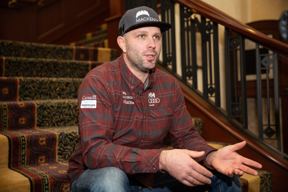 Canadian downhill and super-G specialist, Manuel Osborne-Paradis addresses the media about his recovery timeline and aspirations to continue competing during a press conference at the Fairmont Chateau Lake Louise on Wednesday (Nov. 27). EVAN BUHLER RMO PHOTO