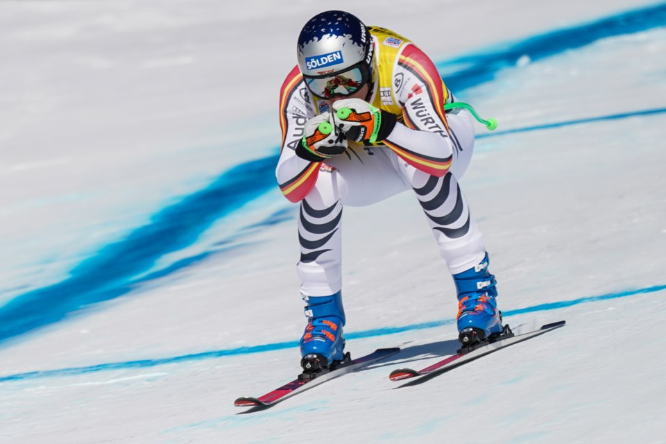 Thomas Dressen of Germany enters a tuck position after landing a jump during the men's downhill event in the 2019 Lake Louise Audi FIS Ski World Cup on Saturday (Nov. 30). EVAN BUHLER RMO PHOTO