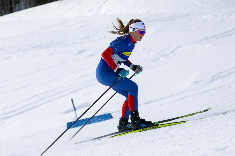 Canmore's Sabine Comeau skis in U16 Female sprint races during the Alberta Winter Games at the Canmore Nordic Centre on Saturday (Feb. 15). EVAN BUHLER RMO PHOTO