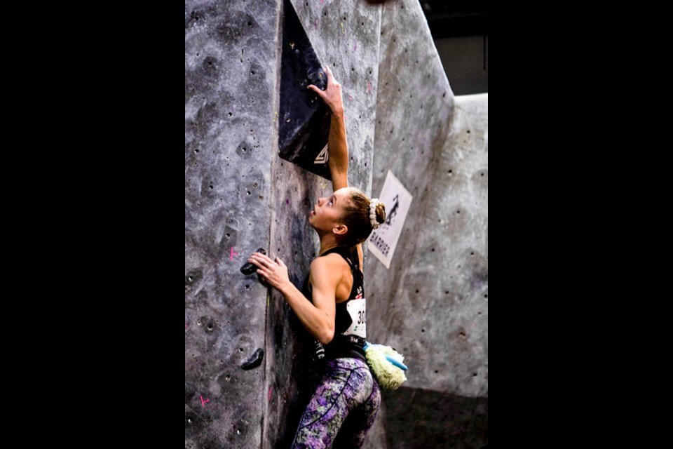 Canmore's Alexa Vanier climbs in the Canadian Youth Bouldering Nationals in North Vancouver. Mark Moland Photo