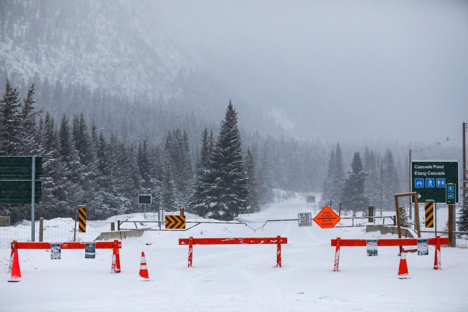 A road block restricts access to Lake Minnewanka on Wednesday (March 25). Parks Canada announced Tuesday (March 24) it is shutting down public access to national parks, including the backcountry, day-use areas and trails, to limit the spread of the COVID-19 virus. EVAN BUHLER RMO PHOTO