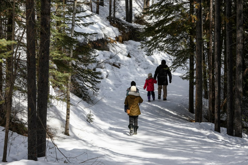 A family goes for a hike to Troll Falls in Kananaskis on Thursday (March 26). Despite calls by Alberta Parks to stay way in order to help stop the spread of COVID-19, the parking lot at the trailhead was nearly full at noon. EVAN BUHLER RMO PHOTO⁠