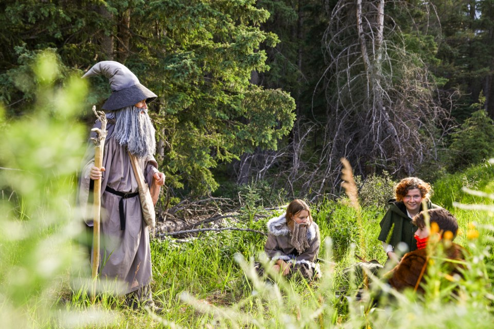 Jeremy White as Gandalf, left, Kacee Stick as Fili, Cirdan Monteith as Bilbo and Scout Hogg as Bombur perform a scene from The Canmore Summer Theatre Festival's production of The Hobbit on Monday (July 20). The stage production is being pre-recorded and released on YouTube, due to the cancellation caused by COVID-19. EVAN BUHLER RMO PHOTO