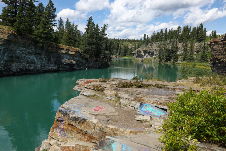 The Bow River where the suspected drowning victim Blessing Paul, 16, disappeared near the Seebe Dam, on Tuesday (Aug. 11). EVAN BUHLER RMO PHOTO