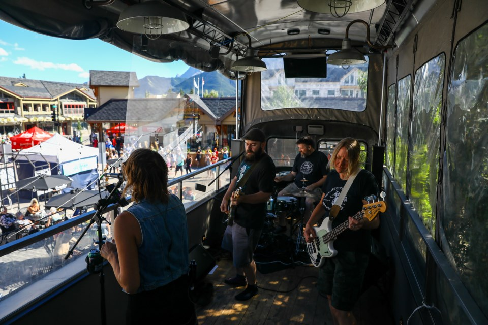 Canmore's Northern Quarter perform their first concert in six months on the PD3 Bus in Canmore on Aug. 22, 2020. EVAN BUHLER RMO PHOTO