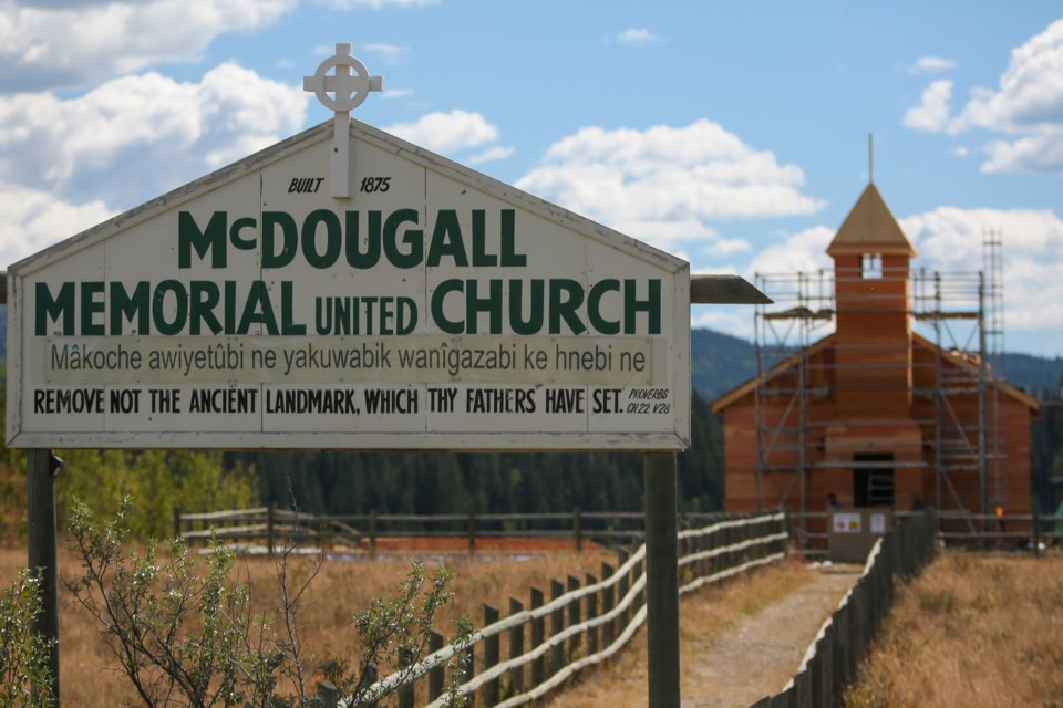 Construction of the new McDougall Memorial United Church nears completion on Tuesday (Sept. 1). Stoney Nakoda Tribal council has asked the province a second time to rescind its historic designation. EVAN BUHLER RMO PHOTO