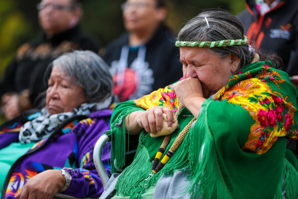 Philomena Stevens is overcome with emotion during a mountain renaming ceremony on Tuesday (Sept. 29).  EVAN BUHLER RMO PHOTO