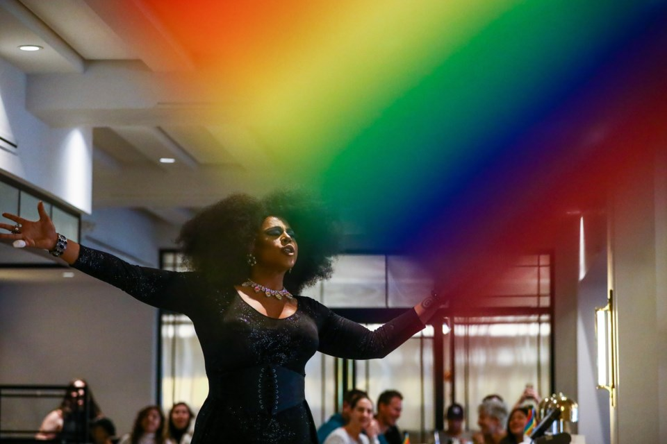 Drag Queen Felicia Bonée performs during drag brunch at the Vermillion Room at the Fairmont Banff Spring Hotel on Saturday (Oct. 10). Banff Pride Week was celebrated between Oct. 4-11, with dozens of events and local businesses taking part. EVAN BUHLER RMO PHOTO