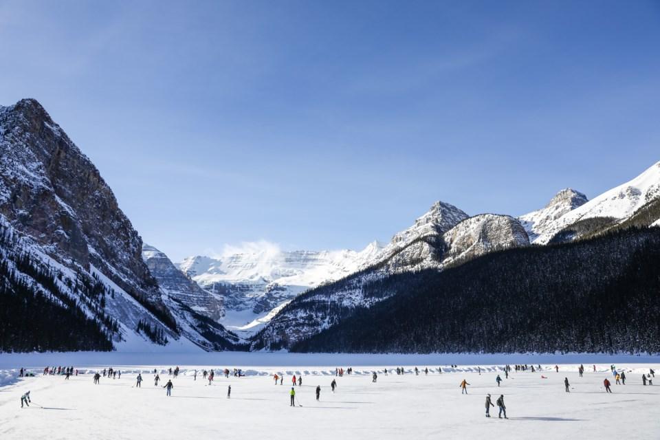 Hundreds of people skate on Lake Louise in Banff National Park on Saturday (Jan. 16). EVAN BUHLER RMO PHOTO