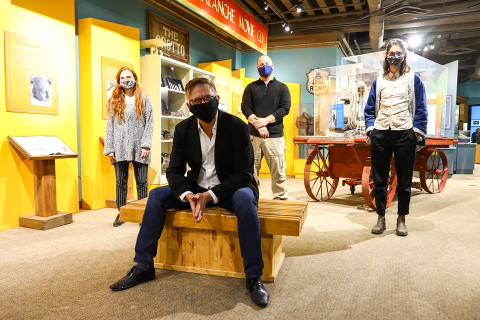 Sarah Knowles,left, Ron Ulrich, Jarrid Jenkins and Amy Herr of the Canmore Museum on Tuesday, Feb. 2, 2021. EVAN BUHLER RMO PHOTO