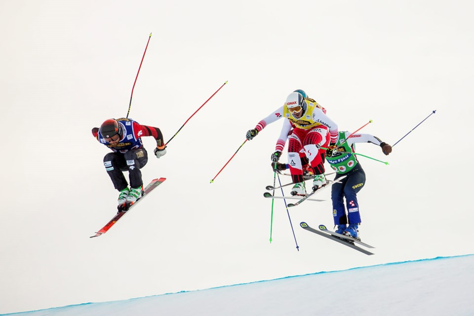 Canmore's Kris Mahler reached the qaurter finals at the 2021 Ski Cross World Championships in Idre Fjall, Sweden on Saturday (Feb. 13).  Daniel Goetzhaber GEPA PHOTO