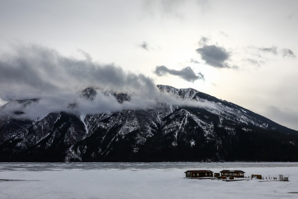 A general view of Lake Minnewanka in Banff National Park on Saturday (March 6). A trio of freedivers from Calgary took to the frigid waters to dive. EVAN BUHLER RMO PHOTO