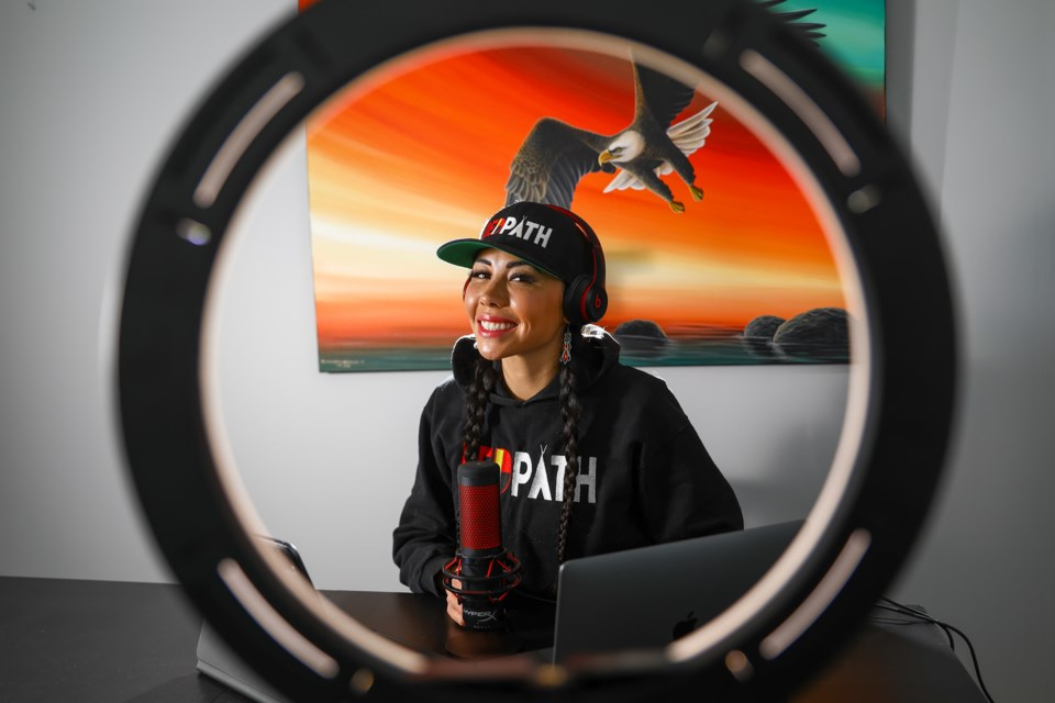 Modern day influencer, actress and now podcast host Marika Sila poses for a portrait on Tuesday (April 13). Sila's new podcast RedPath Radio launched on March 8. EVAN BUHLER RMO PHOTO