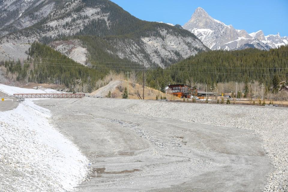The Exshaw Creek Debris-Flood Mitigation Project on Thursday (April 15). EVAN BUHLER RMO PHOTO